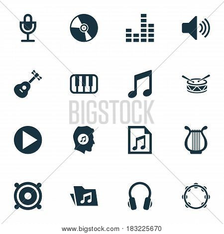 Audio Icons Set. Collection Of Instrument, Earphone, Cd And Other Elements. Also Includes Symbols Such As Equalizer, Vinyl, Lover.