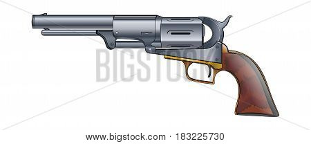 Colt Revolver Pistol on white background. Vector