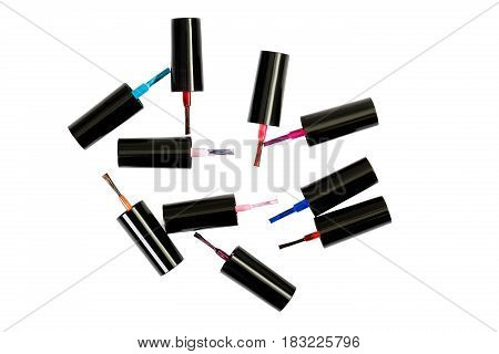 Different nail polish brushes isolated on the white background