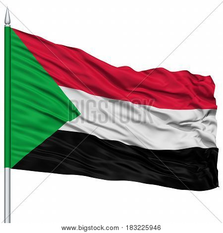 Sudan Flag on Flagpole , Flying in the Wind, Isolated on White Background