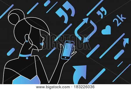 Addicted people concept illustration of young woman using smartphone and mobile app for social networks and tracking news. Gradient outlined people addicted to symbols repost, share, like and comments