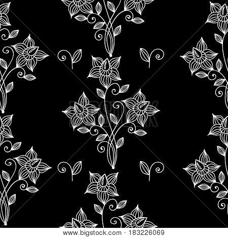 Floral black and white seamless pattern. Line flower and leaf. Vintage style ornament with line flowers. Vector fancy motives of stylish vintage fabric patterns.