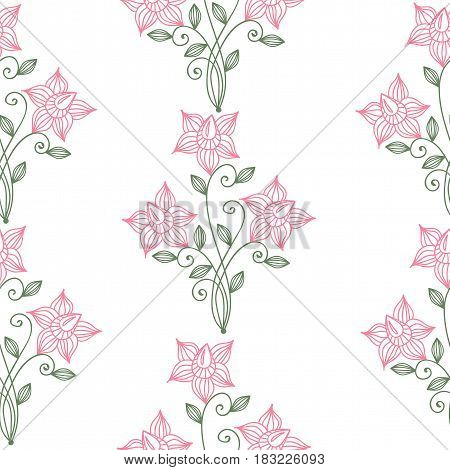 Floral seamless pattern. Flower and leaf on the white background. Vintage style ornament with line flowers. Vector fancy motives of stylish vintage fabric patterns.