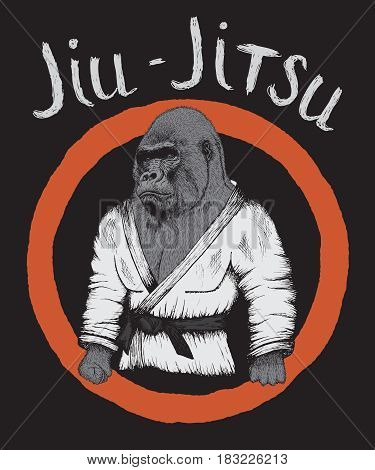 Retro prints design for t-shirts or ancient poster.Gorilla is jiu-jitsu fighter.Vector illustration