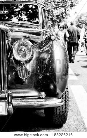 """BERLIN - MAY 28: Car Bentley Mark V a fragment (black and white) the exhibition """"125 car history - 125 years of history Kurfurstendamm"""" May 28 2011 in Berlin Germany"""