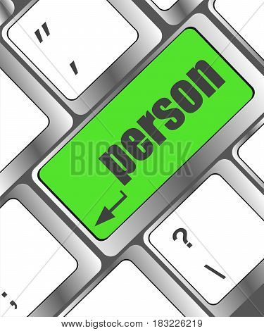 Word Person On Computer Keyboard Key. Laptop Sign