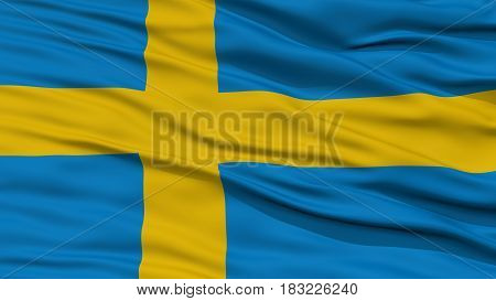 Closeup Sweden Flag, Waving in the Wind, High Resolution