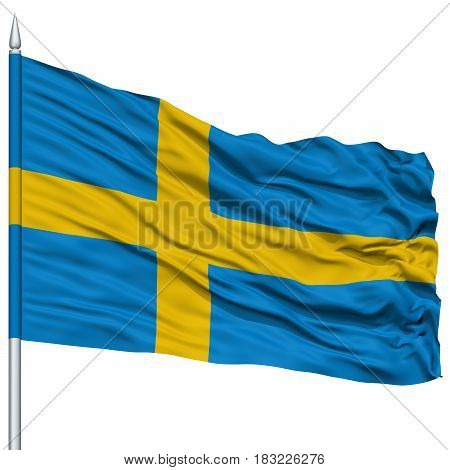 Sweden Flag on Flagpole , Flying in the Wind, Isolated on White Background