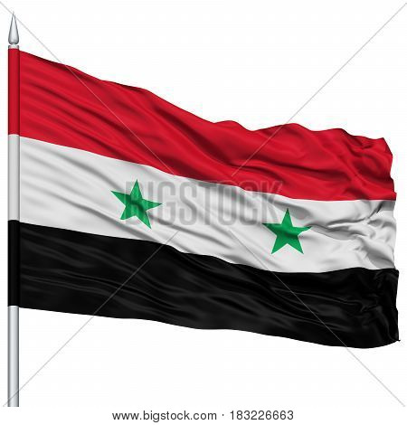 Syria Flag on Flagpole , Flying in the Wind, Isolated on White Background