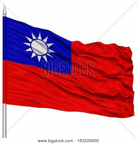 Taiwan Flag on Flagpole , Flying in the Wind, Isolated on White Background