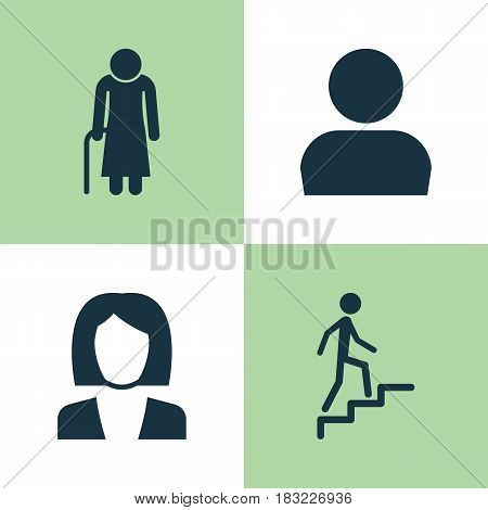 Person Icons Set. Collection Of Businesswoman, Old Woman, User And Other Elements. Also Includes Symbols Such As Avatar, Man, Old.