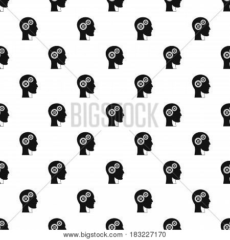 Gears in human head pattern seamless in simple style vector illustration