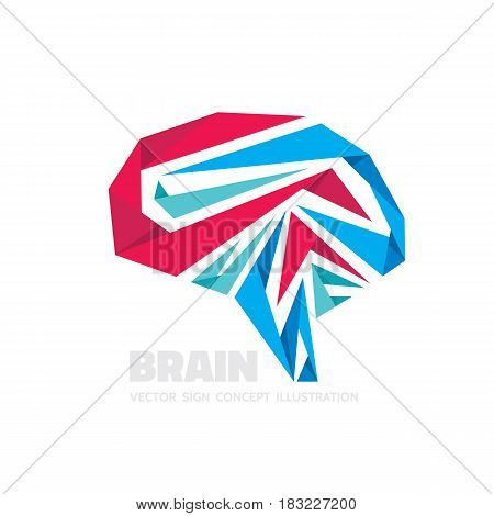 Abstract human brain - business vector logo template concept illustration. Creative idea sign. Infographic symbol. Origami design element.