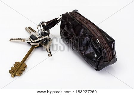 Isolated Keychain with leather case. Studio Photo