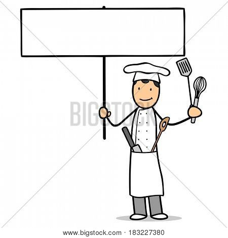 Cartoon character of chef holding blank sign as cook profession concept