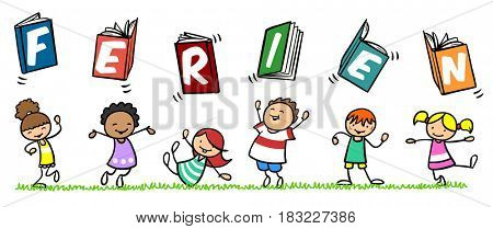 Cartoon of many kids with german slogan