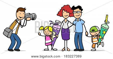 Cartoon of back to school or enrollment family day with photographer