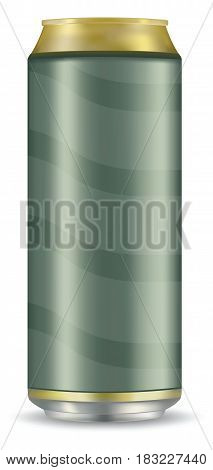 Blank beer can isolated on white background.