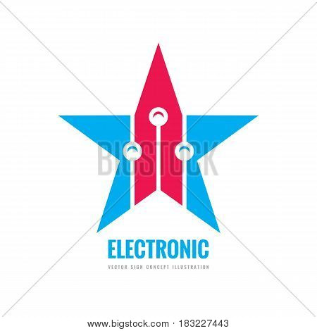 Modern lectronic technology - vector logo template concept illustration. Abstract star creative sign. Design graphic element.