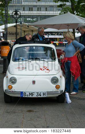 "BERLIN - MAY 28: Fiat Nuova 500 the exhibition ""125 car history - 125 years of history Kurfurstendamm"" May 28 2011 in Berlin Germany"