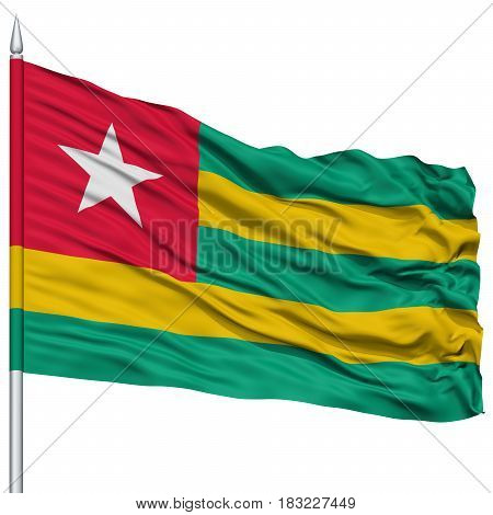 Togo Flag on Flagpole , Flying in the Wind, Isolated on White Background