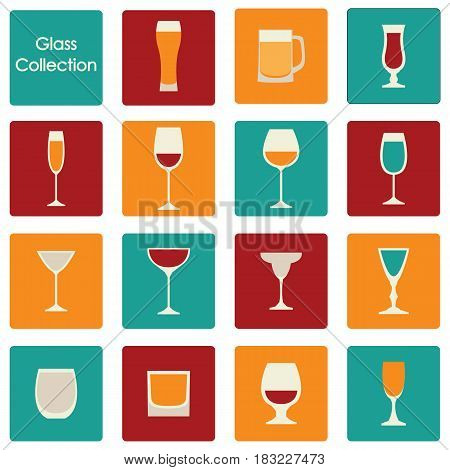 Vector illustration of color wine glasses set icons