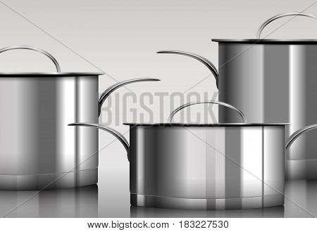 Stainless steel metal cooking pans Vector ю