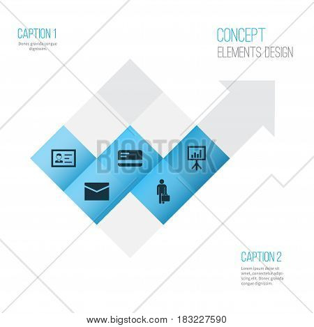 Business Icons Set. Collection Of Presentation Board, Payment, Identification And Other Elements. Also Includes Symbols Such As Payment, Work, Letter.