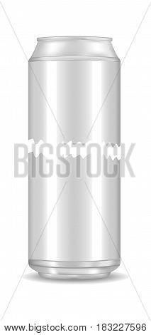 Vector blank aluminium soda can mockup. Empty beer tin packing mock ups set, isolated