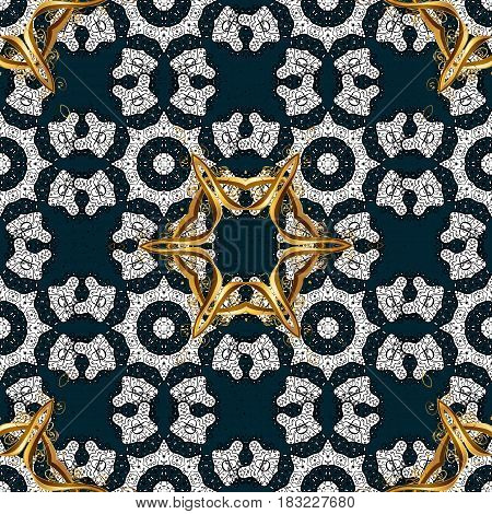 Decorative symmetry arabesque. Good for greeting card for birthday invitation or banner. Vector illustration. Gold on blue background. Pattern medieval floral royal pattern.