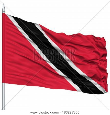 Trinidad and Tobago Flag on Flagpole , Flying in the Wind, Isolated on White Background