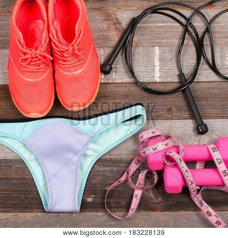 Female Swimsuit Beach Accessories. Swimsuit Underpants And Sneakers