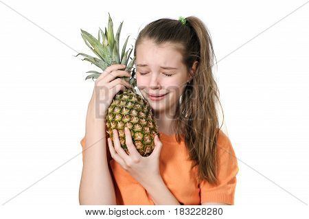 A Teenage Girl With An Allergy Hugs A Pineapple And Cries..