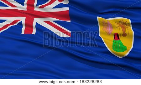 Closeup Turks and Caicos Islands Flag, Waving in the Wind, High Resolution