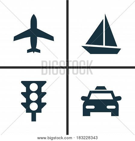 Transport Icons Set. Collection Of Stoplight, Cab, Aircraft And Other Elements. Also Includes Symbols Such As Car, Stoplight, Airplane.