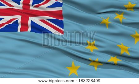 Closeup Tuvalu Flag, Waving in the Wind, High Resolution