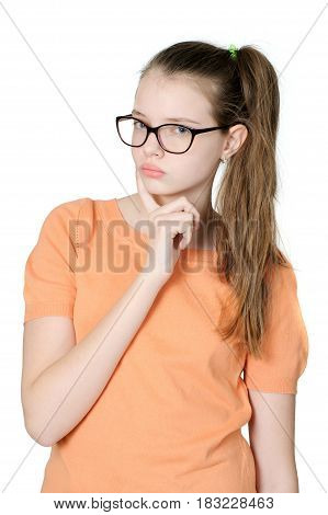 Thoughtful Adorable Teen Girl On White Background..