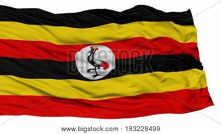 Isolated Uganda Flag, Waving on White Background, High Resolution