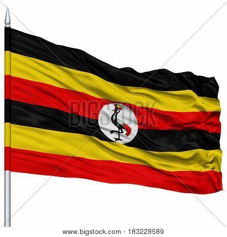 Uganda Flag on Flagpole , Flying in the Wind, Isolated on White Background