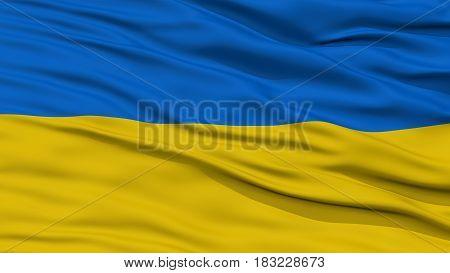 Closeup Ukraine Flag, Waving in the Wind, High Resolution