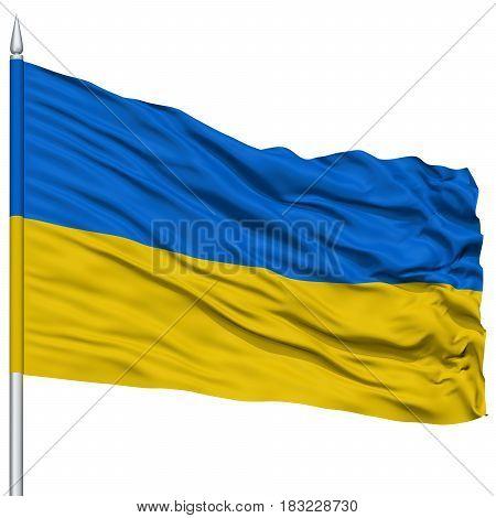 Ukraine Flag on Flagpole , Flying in the Wind, Isolated on White Background
