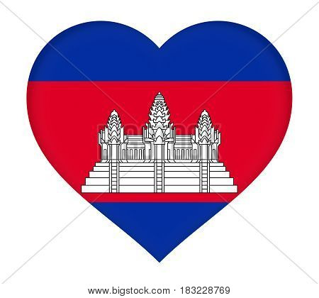Illustration of the flag of Cambodia shaped like a heart.