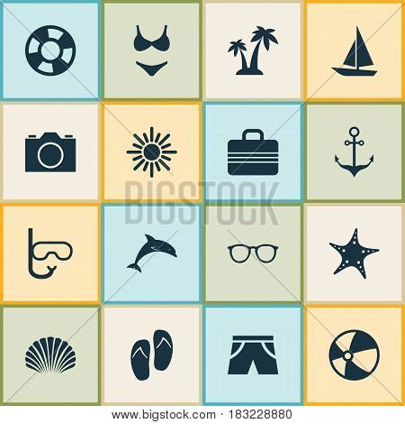 Hot Icons Set. Collection Of Ship, Trees, Baggage And Other Elements. Also Includes Symbols Such As Palms, Shorts, Anchor.