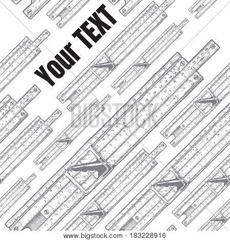 Vector template with slide rules. Place for your text. Seamless pattern on the background.
