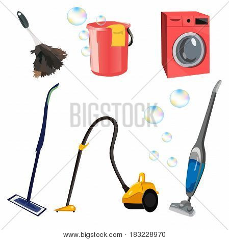 Very high quality original trendy vector set with cleaning tools. bucket, mop, vacuum cleaner, washing machine