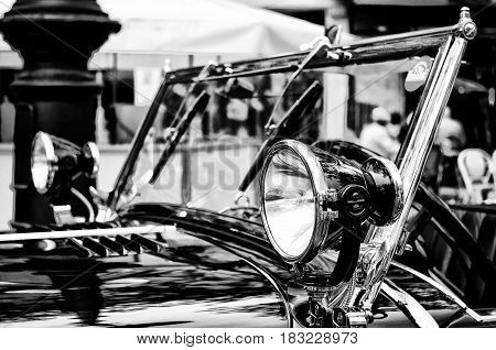 BERLIN - MAY 28: Head headlights Mercedes-Benz S the exhibition