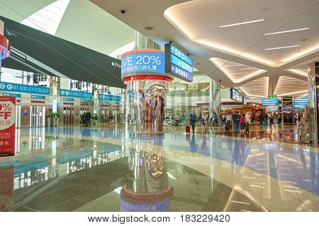 DUBAI, UAE - CIRCA JANUARY, 2017: inside Dubai International Airport. The airport is home to the long-haul carrier Emirates.