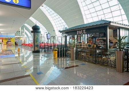 DUBAI, UAE - CIRCA JANUARY, 2017: Paul at Dubai International Airport. The airport is home to the long-haul carrier Emirates.