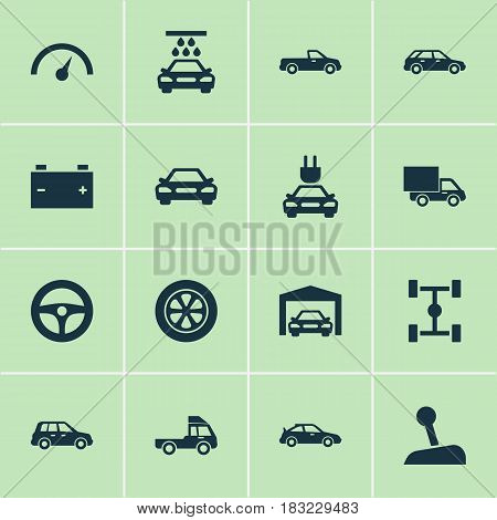 Auto Icons Set. Collection Of Chronometer, Plug, Hatchback And Other Elements. Also Includes Symbols Such As Gear, Wagon, Water.