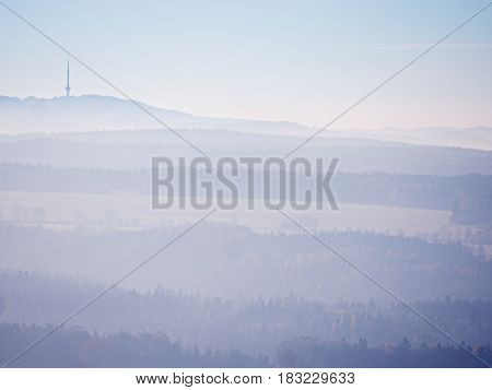 Scenic Sunrise In The Mountains, Gradation Of Colorful Mist